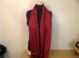 Red with Metallic Thread Pleated Metallic Scarf 100 Percent Polyester image 2