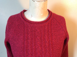 Red with Black Specks Long Sleeve Sweater Good Condition See Measurements Below image 2