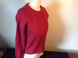 Red with Black Specks Long Sleeve Sweater Good Condition See Measurements Below image 4