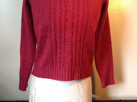 Red with Black Specks Long Sleeve Sweater Good Condition See Measurements Below image 3