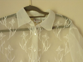 Reflections by Spiegel White See Through Fancy Blouse Long Sleeve Collar Size 10 image 2