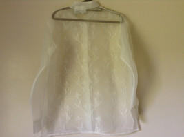 Reflections by Spiegel White See Through Fancy Blouse Long Sleeve Collar Size 10 image 6