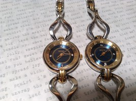 Relic ZR33798 Wristwatch Gold Silver Tone Band Jewels on Gold and Blue Face image 5