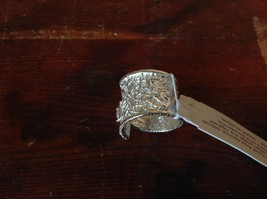Relief Textured Large CZ Handcrafted 925 Sterling Silver Ring Size 7 image 4