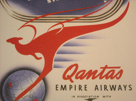 Reproduction Print Vintage Travel Ad for Qantas Empire Airways Kangaroo Service image 5