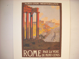 Vintage Reprint Color 1920 Travel Ad Rome, Italy Mont-Cenis Ruins Paris Poster image 2
