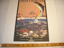 Reproduction Print of Vintage Travel Ad for Australia Great Barrier Reef image 2