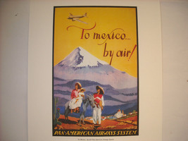 Reproduction Print of Vintage Travel Mexico By Air Pan American Airways System image 2