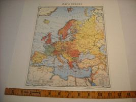 Reproduction print Vintage 1935 Map of Europe with steamship routes railroads image 5