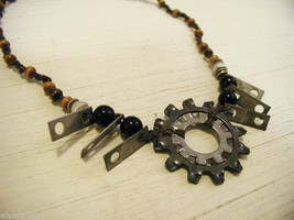 Repurposed tribal punk hand knotted necklace with metal garage artifacts gears image 2