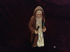 Resin Cast Painted Figurine Old Man with Gifts and Walking Stick Vintage Look image 2