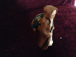 Resin Cast Painted Figurine Old Man with Gifts and Walking Stick Vintage Look image 3