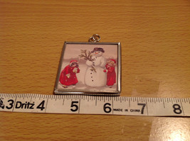 Reversible Versatile Charm Present Tie On Tag Metal Glass Tag Snowman Believe In image 3