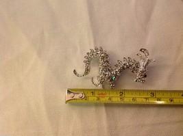 Rhinestone Dragon pin new but vintage looking silver tone brooch image 4