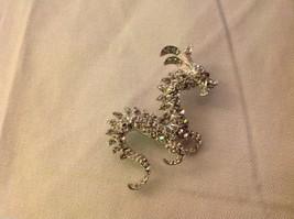 Rhinestone Dragon pin new but vintage looking silver tone brooch image 2