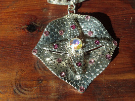 Rhombus with Violet Crystals and Multicolored Crystal Silver Tone Scarf Pendant image 2
