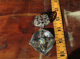 Rhombus with Violet Crystals and Multicolored Crystal Silver Tone Scarf Pendant image 5