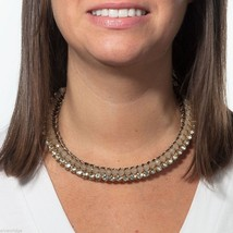 Rose Gold tone and Crystal accent collar necklace image 2