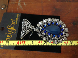 Round Shaped Large Blue Stone and Small Blue Crystals Silver Tone Scarf Pendant image 5