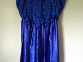 Royal Blue Vintage Ball Gown Dress Laced on Top Bow Zipper on Back image 10