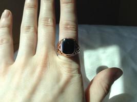Rose Gold Tone Black Rectangular Stone Heart Swirl Ring Size 8.75 and 10.25 image 5