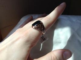 Rose Gold Tone Black Rectangular Stone Heart Swirl Ring Size 8.75 and 10.25 image 4