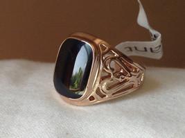 Rose Gold Tone Black Rectangular Stone Heart Swirl Ring Size 8.75 and 10.25 image 7