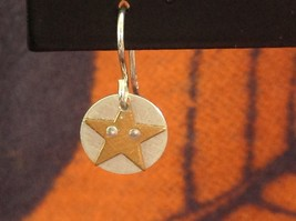Riveted Cute Baby Disk Earrings w Star Gold on Silver Handmade Zina Kao image 3