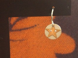 Riveted Cute Baby Disk Earrings w Star Gold on Silver Handmade Zina Kao image 4