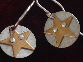 Riveted Cute Baby Disk Earrings w Star Gold on Silver Handmade Zina Kao image 2