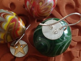 Riveted Cute Baby Disk Earrings w Star Gold on Silver Handmade Zina Kao image 5