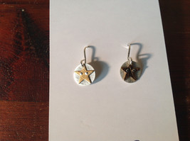 Riveted Cute Baby Disk Earrings w Star Gold on Silver Handmade Zina Kao image 7