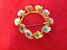 """Round Gold Ring w Colorful Pastel Flowers Floral Brooch Pin 3"""" Diameter image 3"""