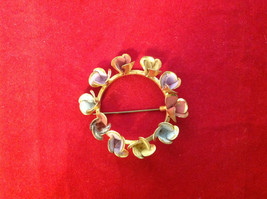 """Round Gold Ring w Colorful Pastel Flowers Floral Brooch Pin 3"""" Diameter image 2"""