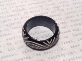 Round Patterned Black Wooden Hand Carved Ring Sizes 6.5, 7 OR 9 Sold Separately image 4