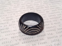 Round Patterned Black Wooden Hand Carved Ring Sizes 6.5, 7 OR 9 Sold Separately image 2