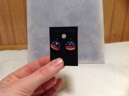 Round American Flag Design Stud Earring Perfect for July 4th Plastic Backing image 5