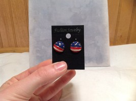 Round American Flag Design Stud Earring Perfect for July 4th Plastic Backing image 6