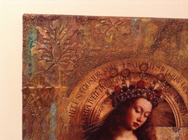 Russian Artist Handmade Canvas Religious Holy Virgin and Book Artist L Mironova image 4