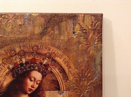Russian Artist Handmade Canvas Religious Holy Virgin and Book Artist L Mironova image 5
