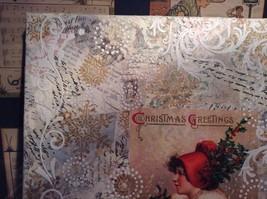 Russian Handmade 14x11 Mixed Media Christmas Collage Canvas, Christmas Greetings image 2