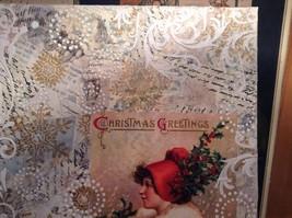 Russian Handmade 14x11 Mixed Media Christmas Collage Canvas, Christmas Greetings image 3