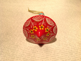 Russian Hand Painted Christmas Tree Ornament Red with Mini Doll Top Drodel Shape image 4