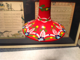 Russian Hand Painted Christmas Tree Ornament Red with Mini Doll Top Drodel Shape image 2