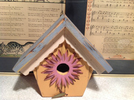 Rustic Blue and Beige Faux Bird House with Pink Flower Wall Decoration image 3