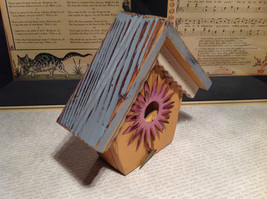 Rustic Blue and Beige Faux Bird House with Pink Flower Wall Decoration image 4