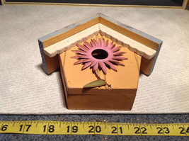 Rustic Blue and Beige Faux Bird House with Pink Flower Wall Decoration image 9