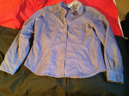 SO Blue (Sigrid Olsen) Womens Light Blue Corduroy Snap Front Blouse Size Large image 2