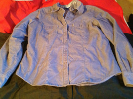 SO Blue (Sigrid Olsen) Womens Light Blue Corduroy Snap Front Blouse Size Large image 3