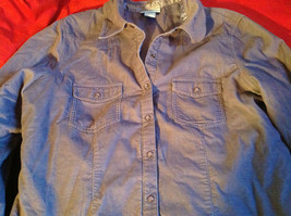 SO Blue (Sigrid Olsen) Womens Light Blue Corduroy Snap Front Blouse Size Large image 4